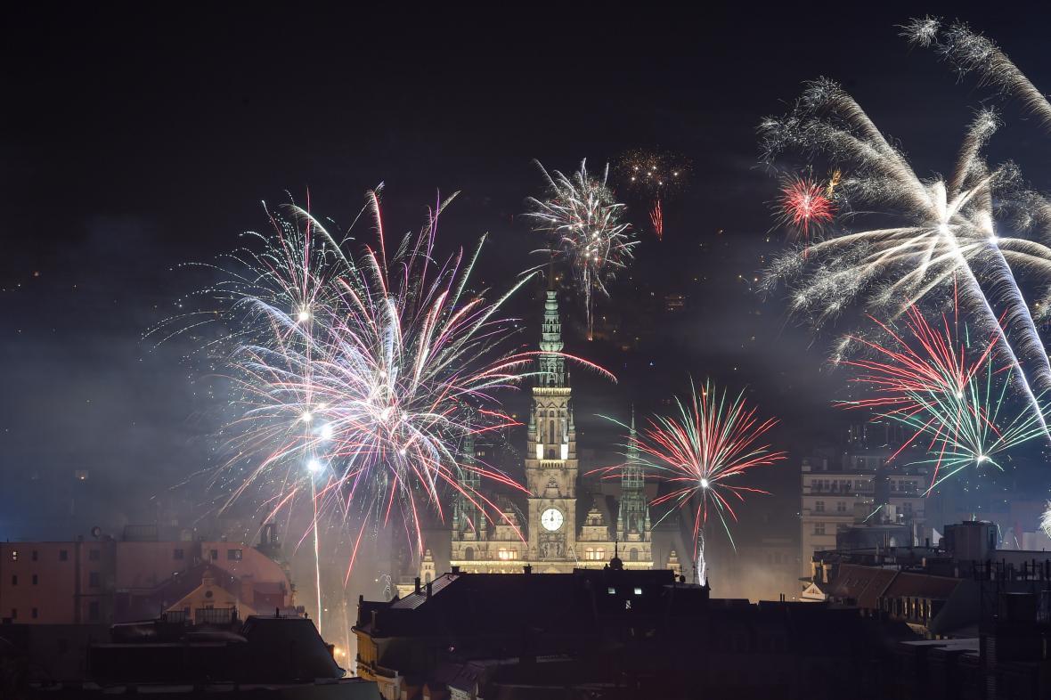 Novoroční ohňostroj v Liberci