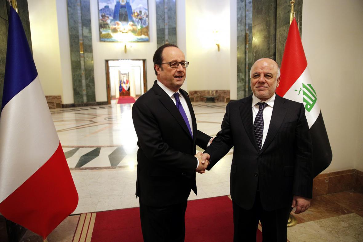 Francois Hollande s iráckým premiérem Hajdarem Abádím