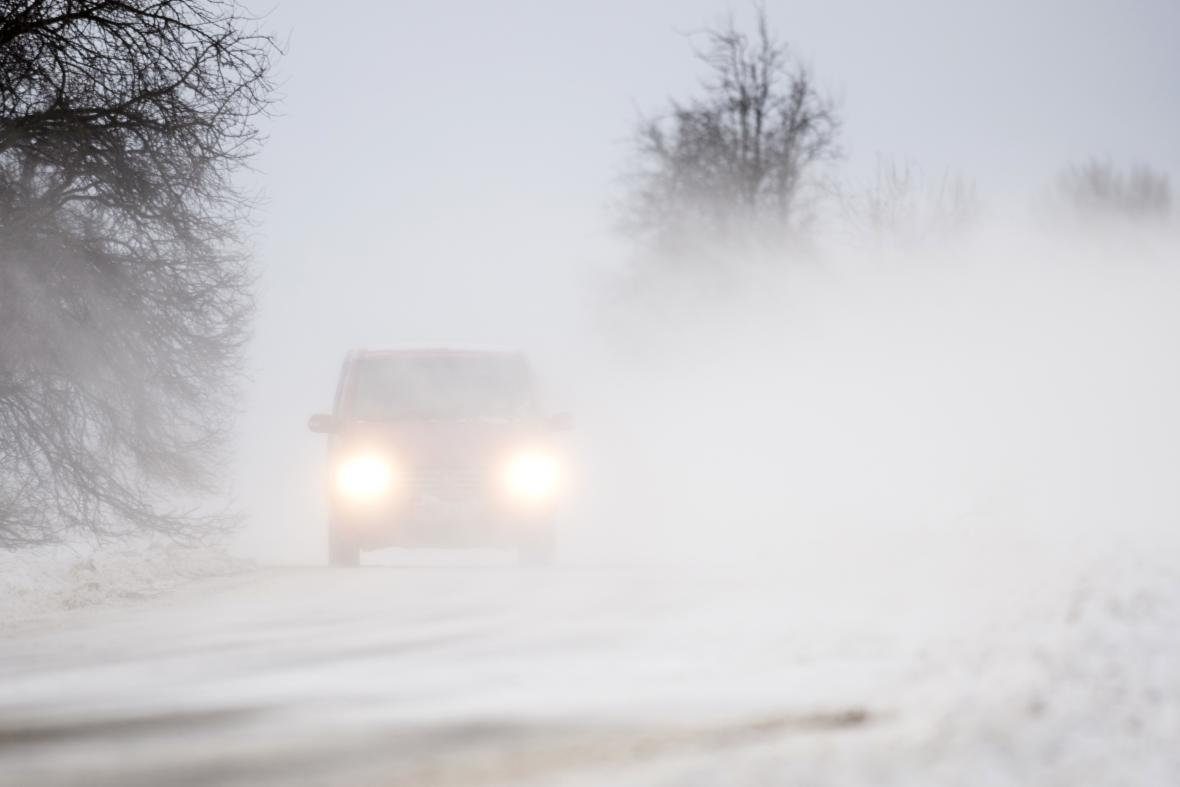 Husté sněžení na Královéhradecku