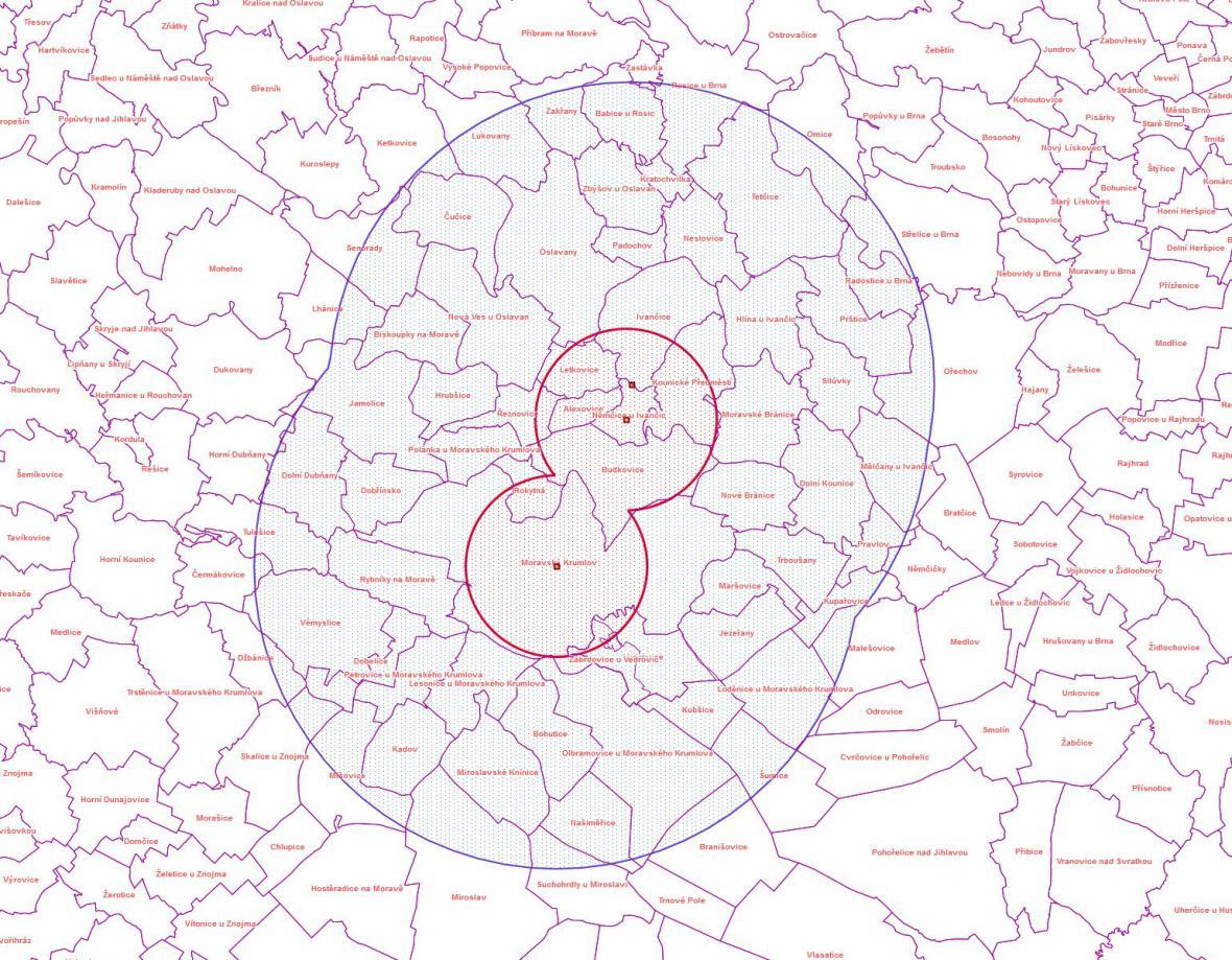 Mapa s vyznačenými pásmy