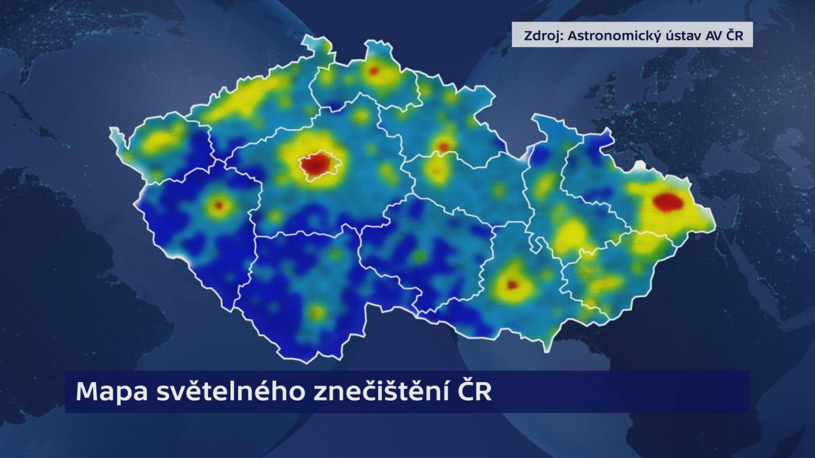 Mapa světelného znečištění - čím teplejší odstín na mapě, tím je situace horší