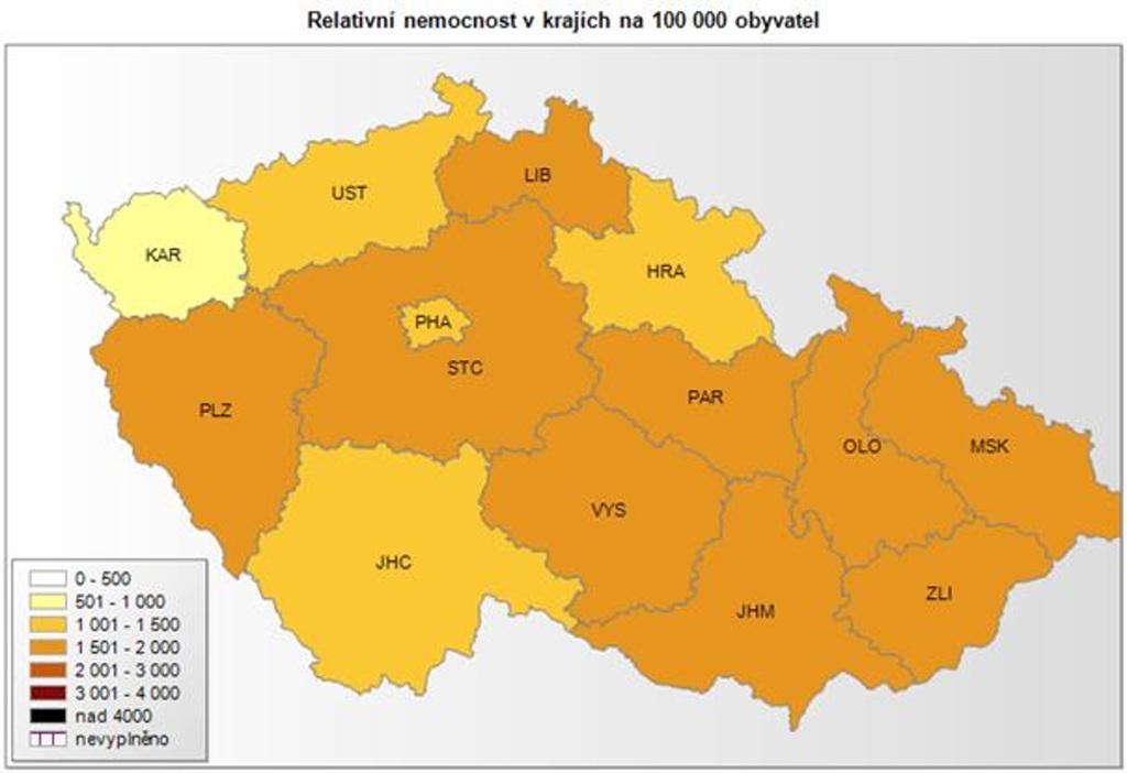 Nemocnost v krajích na 100 tisíc obyvatel