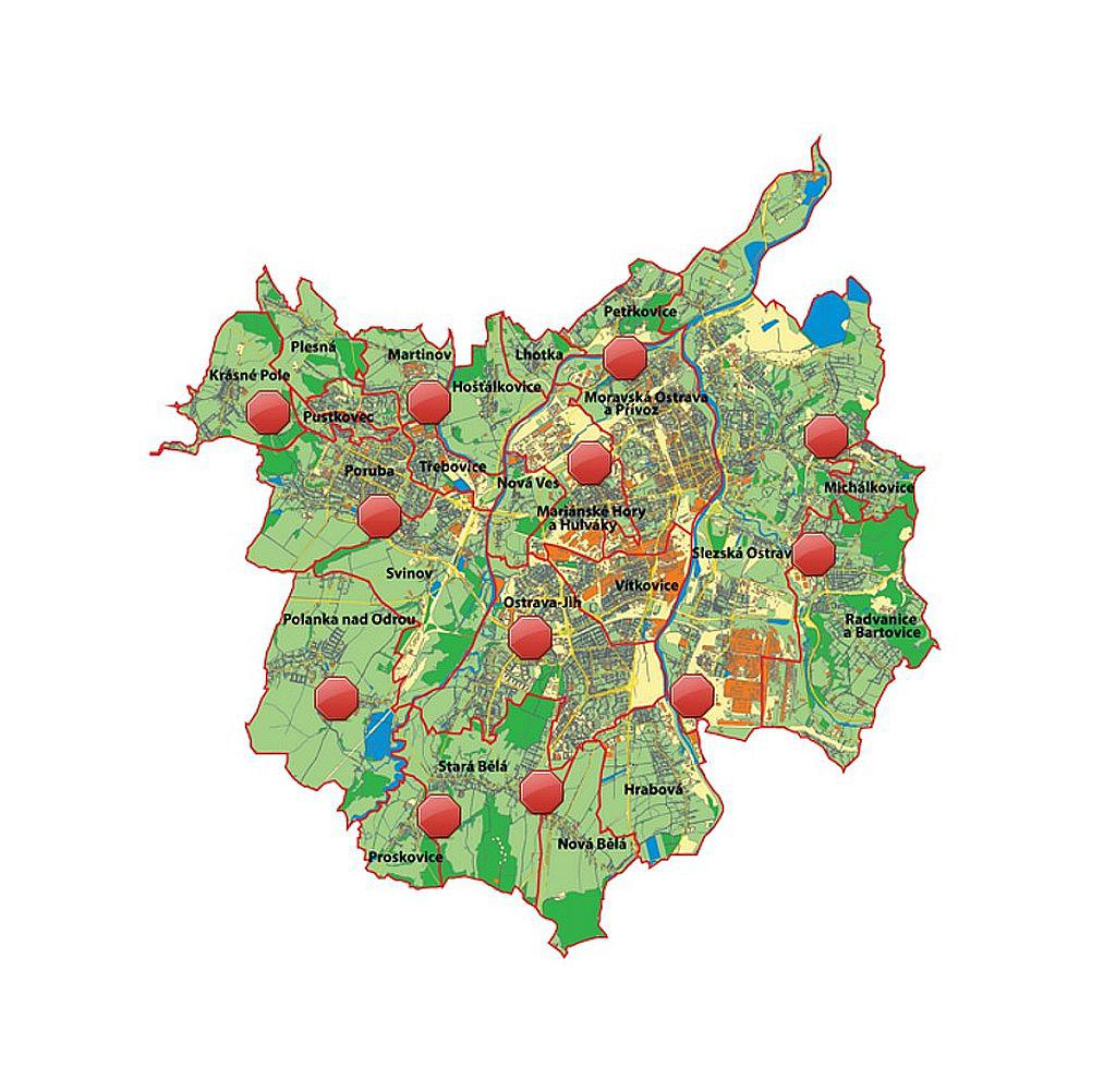Mapa sběrných dvorů v Ostravě