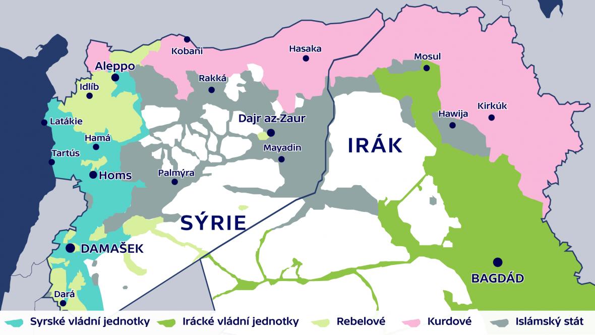 Rozložení sil v Sýrii a v Iráku (9. leden 2017)