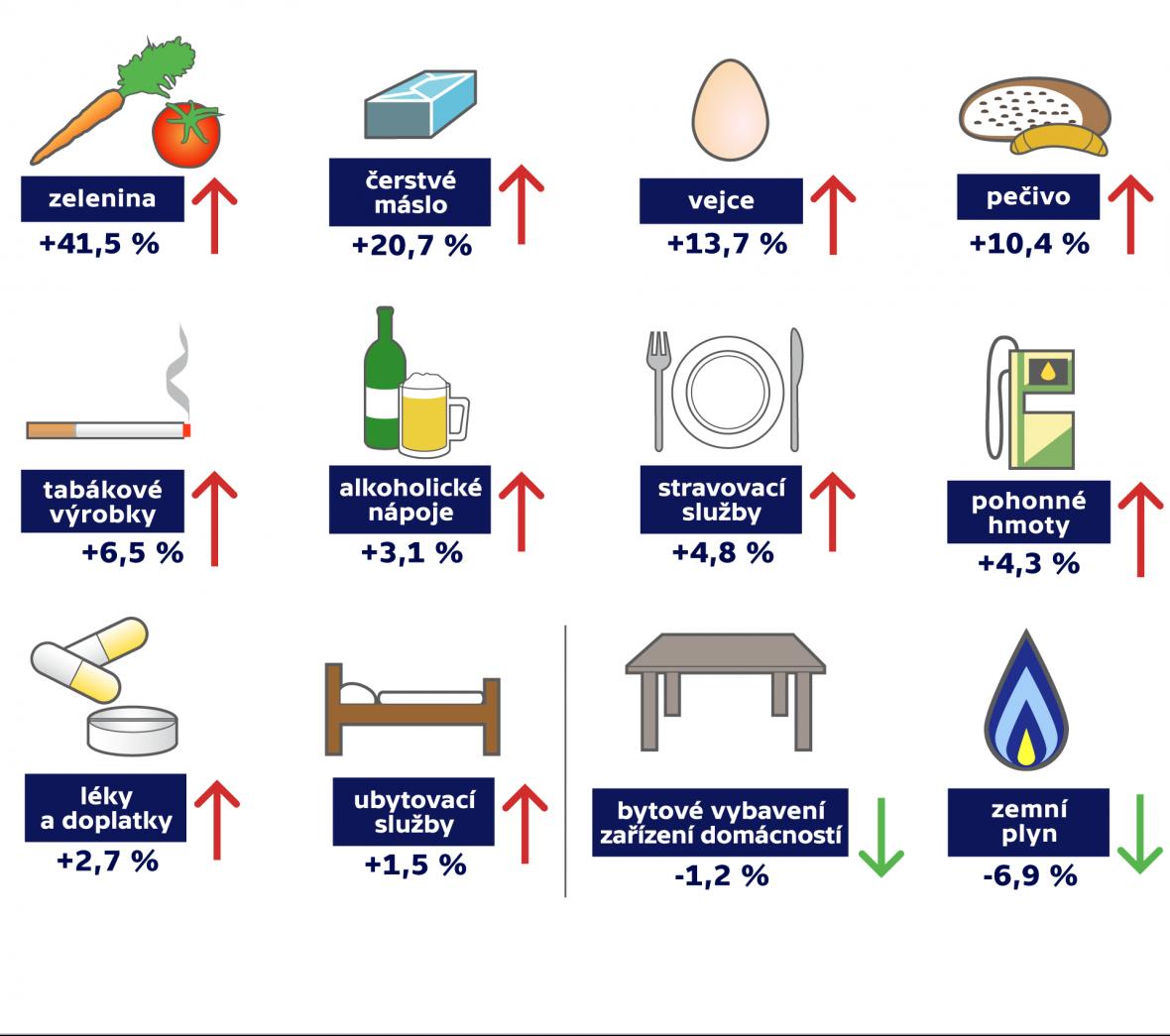 Vývoj spotřebitelských cen v prosinci 2016 (v meziročním srovnání oproti prosinci 2015, v %)