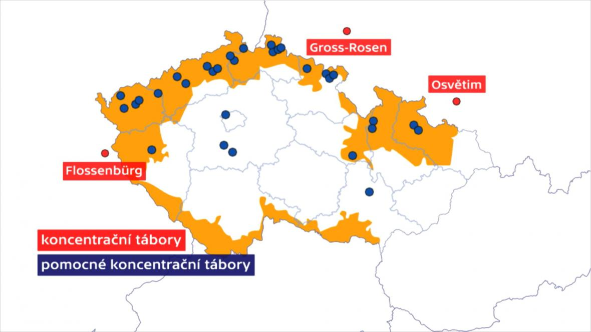 Mapa pobočných koncentračních táborů