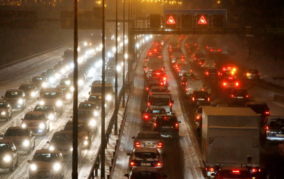 Ranní dopravní špička v Berlíně