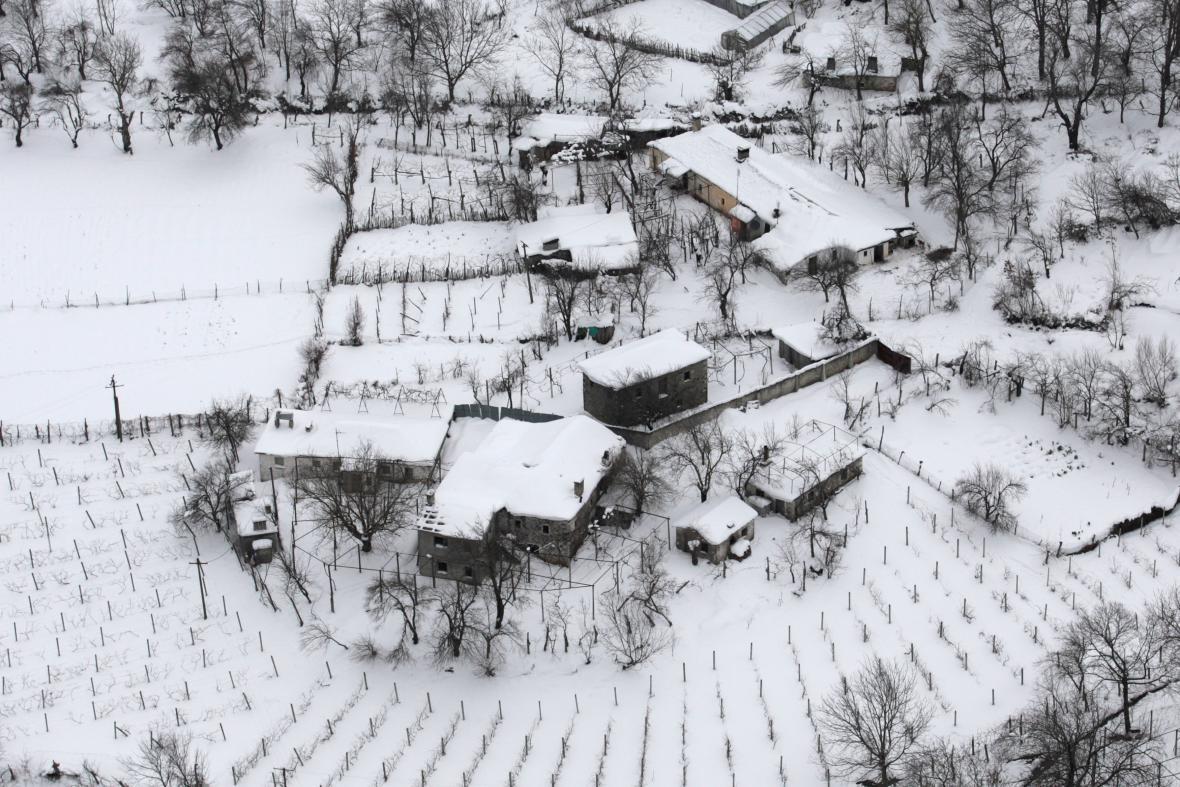 Albánie pod sněhem