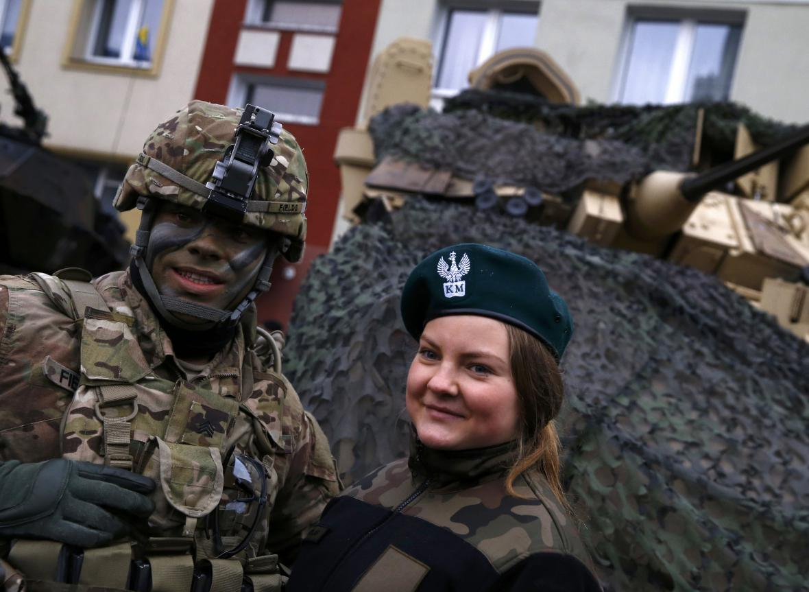 Vítání amerických vojáků v Polsku
