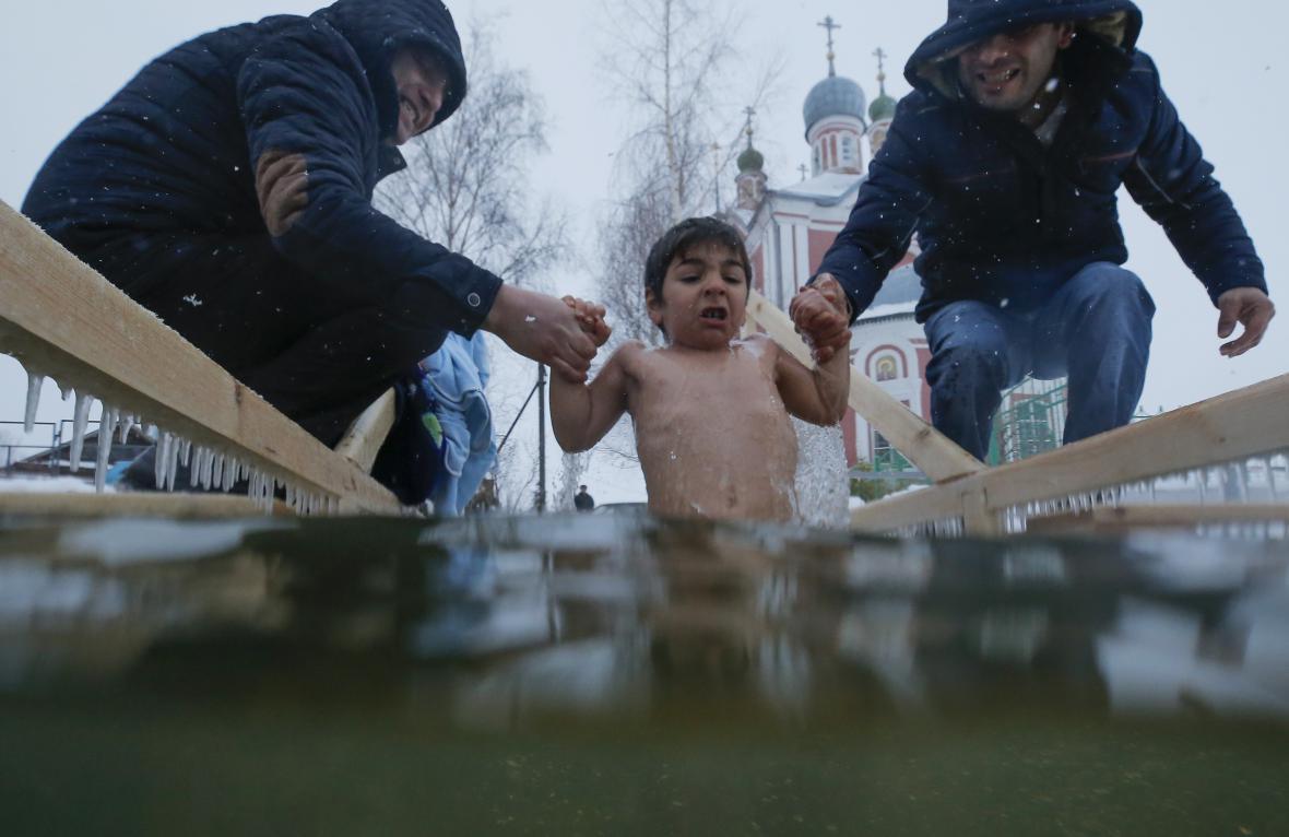 Svátek Křtu Páně ve městě Pereslavl-Zalesskij v Jaroslavské oblasti