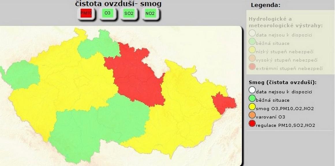 Zhoršené ovzduší nad Českem