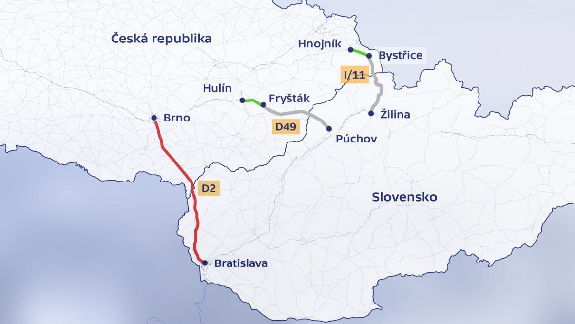 Existující a plánovaná dálniční spojení se Slovenskem