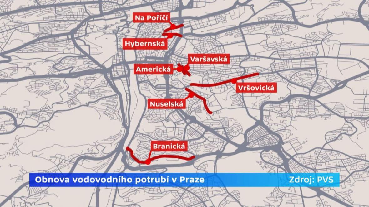 Obnova vodovodního potrubí v Praze