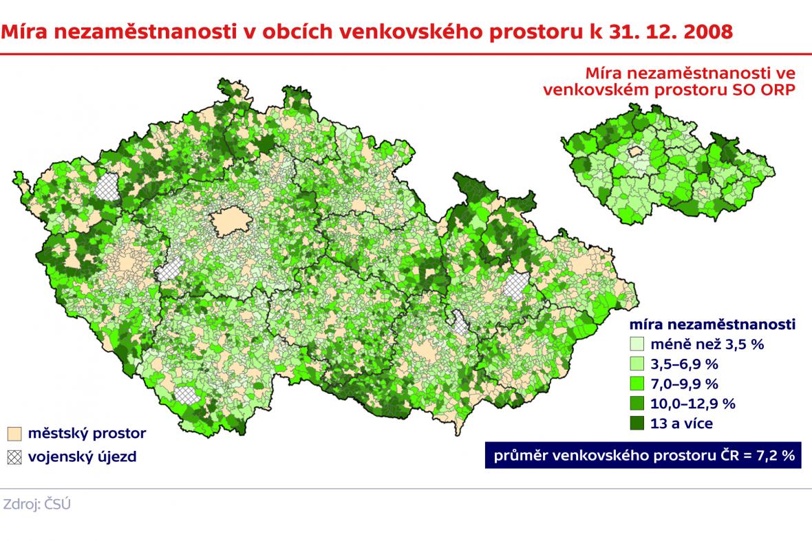 Míra nezaměstnanosti v obcích venkovského prostoru k 31. 12. 2008