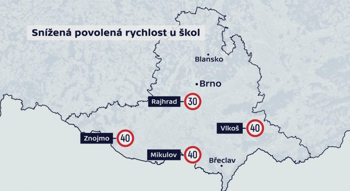Snížená povolená rychlost u škol na jihu Moravy