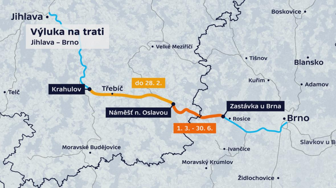 Výluka trati Jihlava - Brno