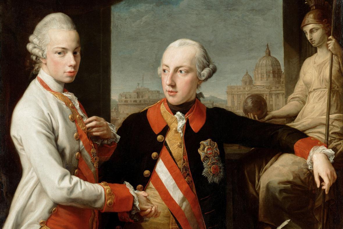 Leopold II. se svým bratrem Josefem II., obraz Pompea Batoniho