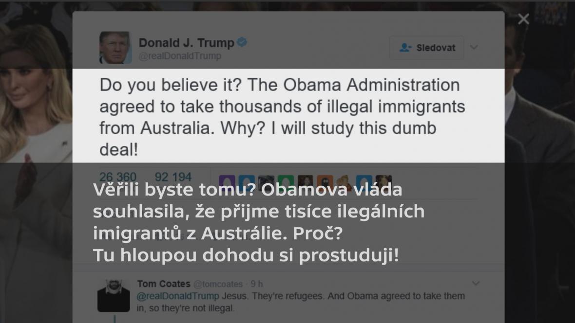 Trumpův příspěvek na sociální síti Twitter