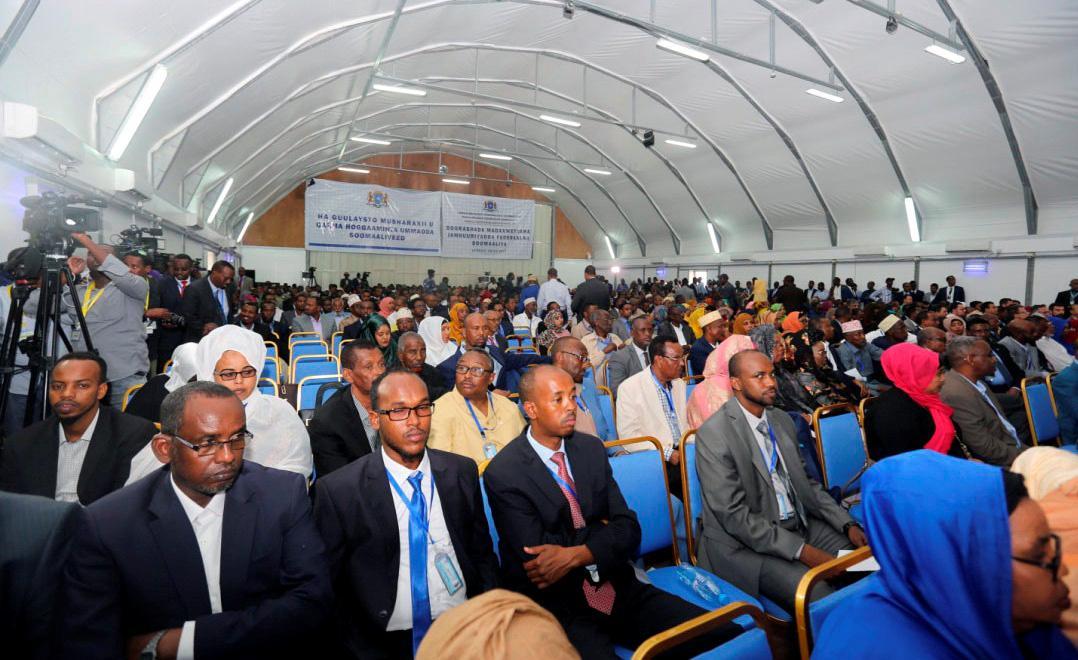 Hangár, kde probíhala volba somálského prezidenta