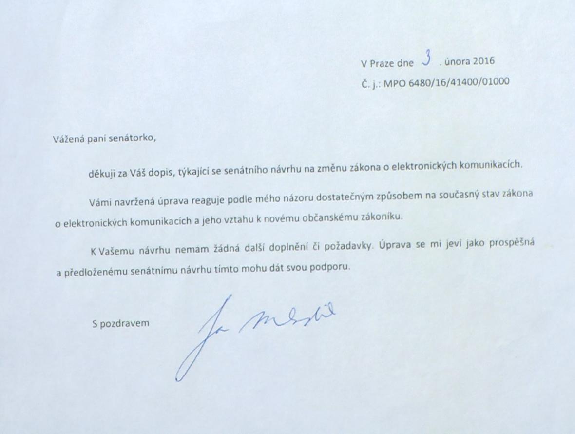 Dopis ministra Jana Mládka