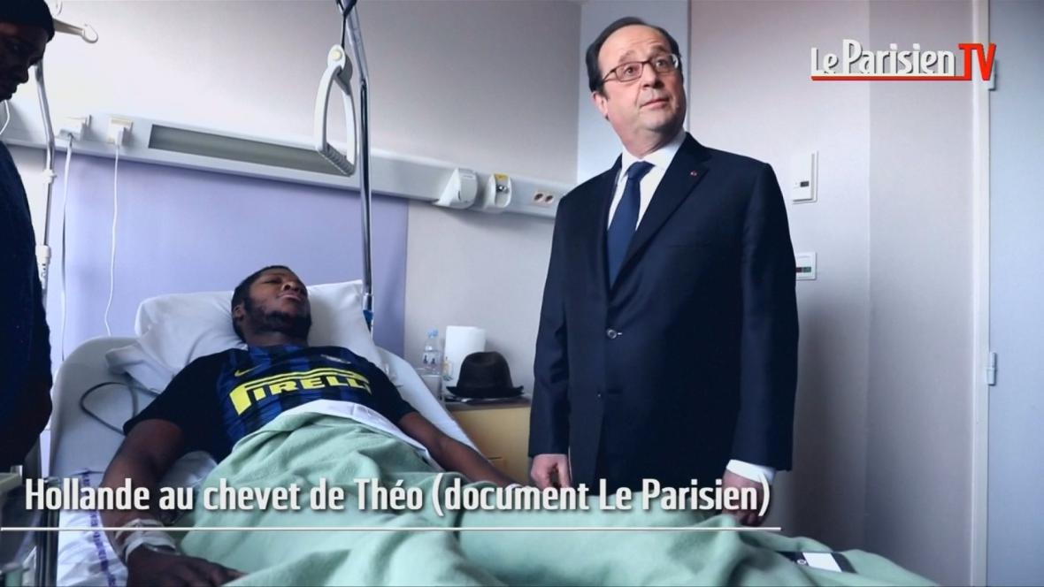 Francois Hollande v nemocnici u napadeného muže