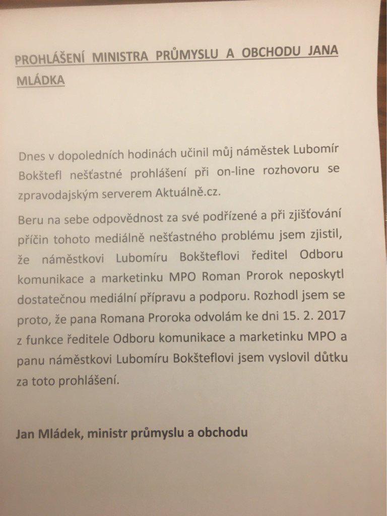 Prohlášení ministra Mládka