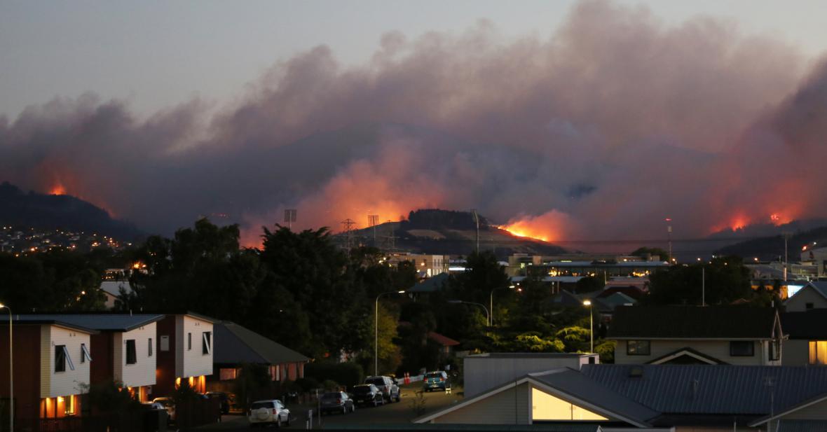 Lesní požáry u Christchurch