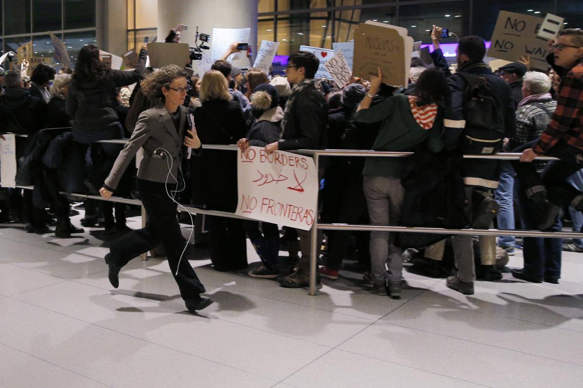 Protest na jednom z bostonských letišť