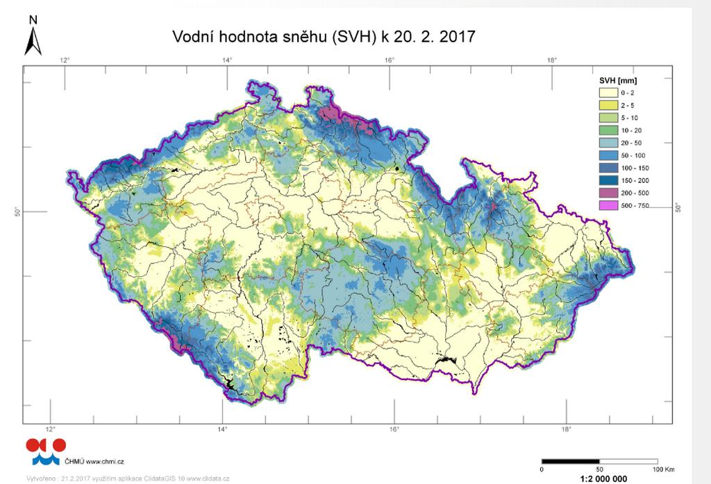 Mapa rozložení vodní hodnoty sněhu