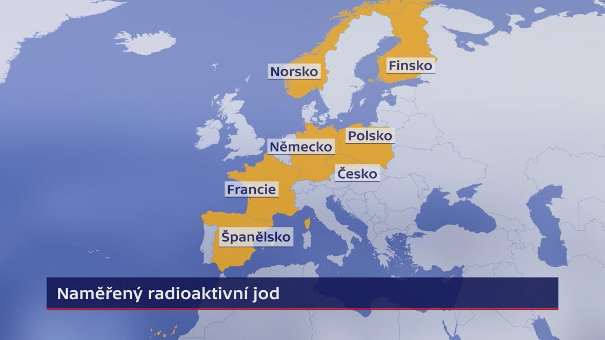 Země, ve kterých naměřili radioaktivní izotop jodu 131