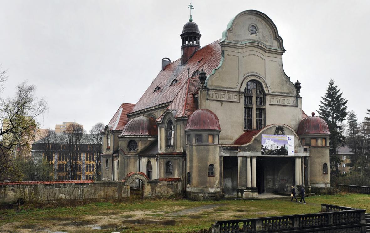 Kostel sv. Máří Magdalény v Liberci před rekonstrukcí v dubnu 2012