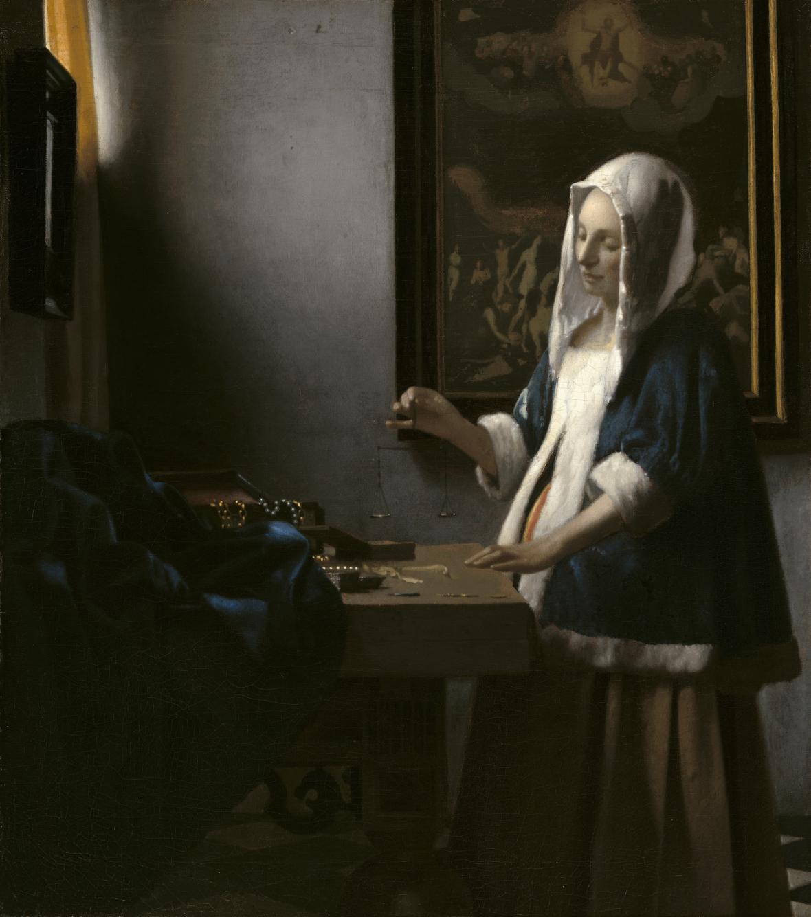 Johannes Vermeer / Žena s váhami, okolo 1664