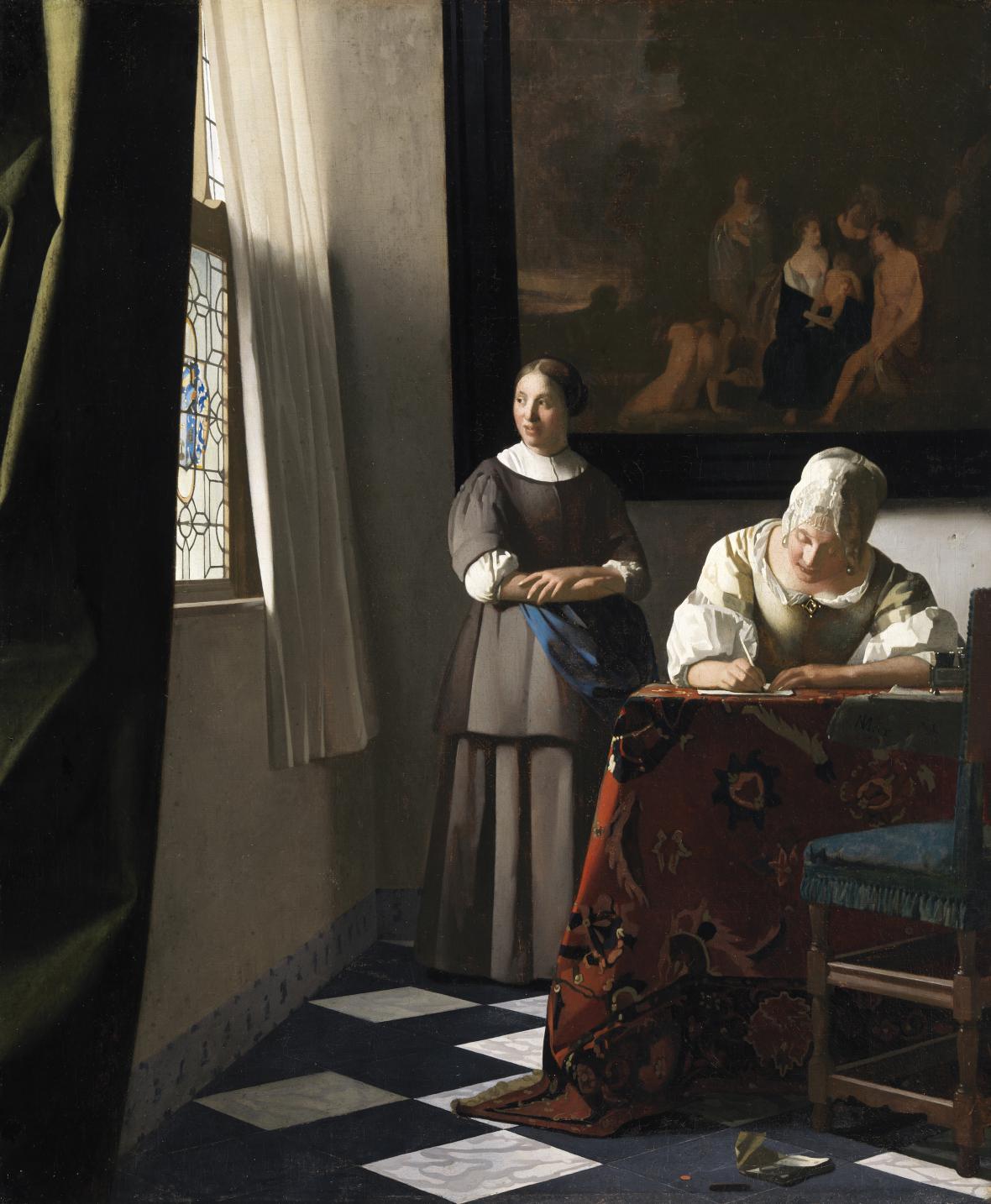 Johannes Vermeer / Žena píšící dopis, okolo 1670