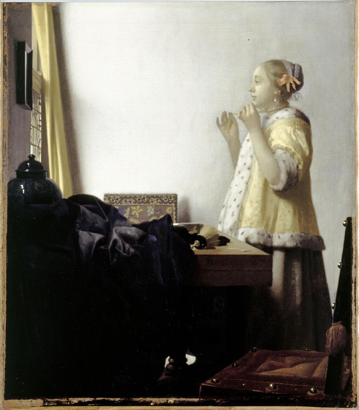 Johannes Vermeer /  Mladá žena s perlami, 1663-1664