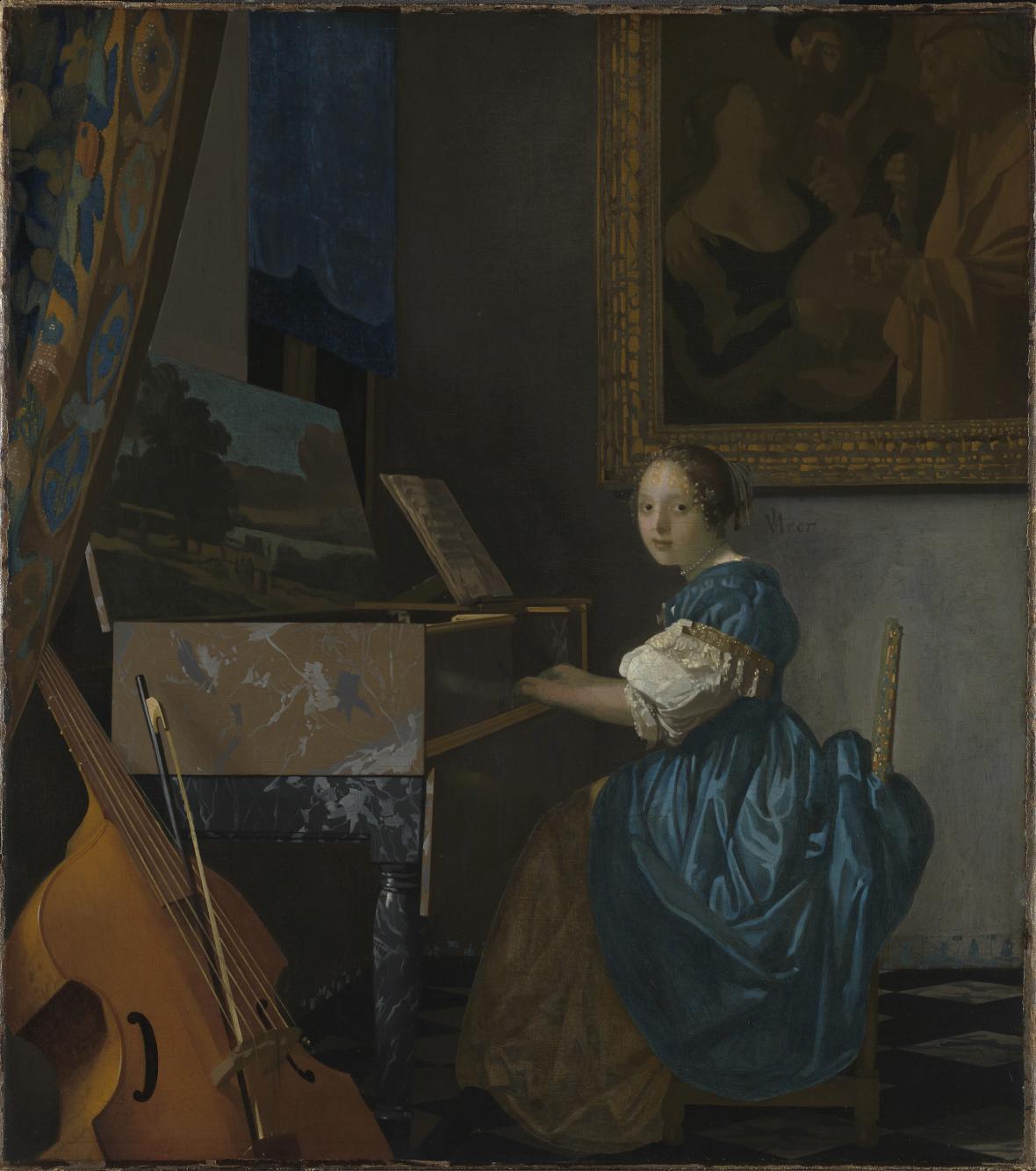 Johannes Vermeer / Žena sedící u virginalu, kolem 1671-1674