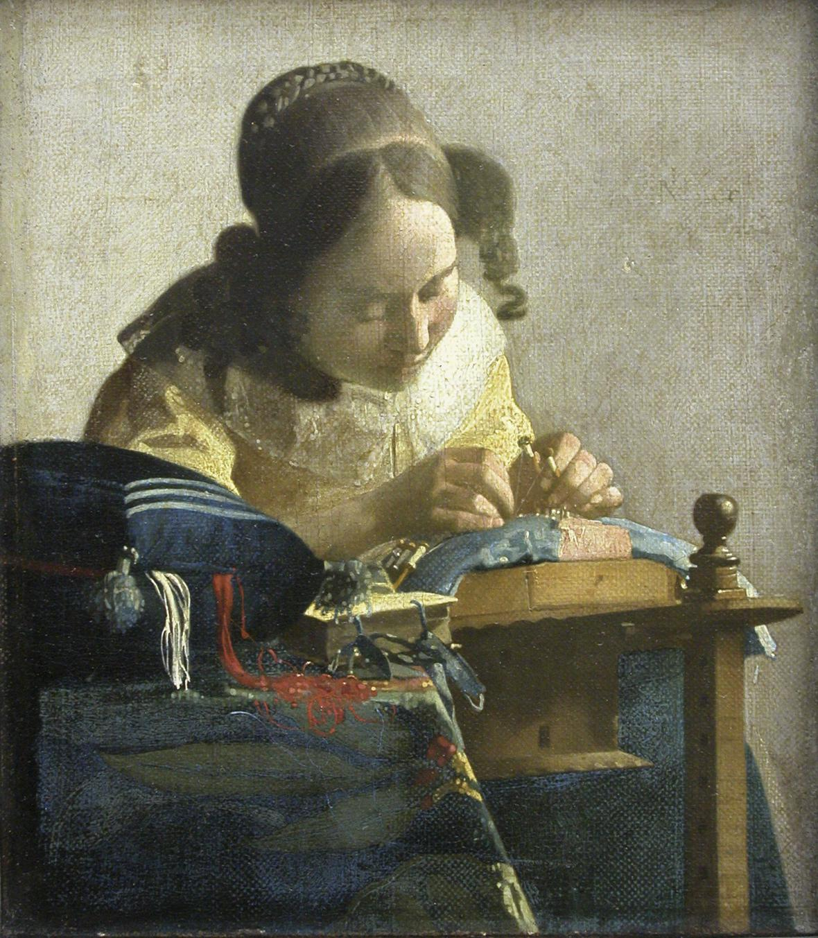 Johannes Vermeer / Krajkářka, kolem 1669-1670