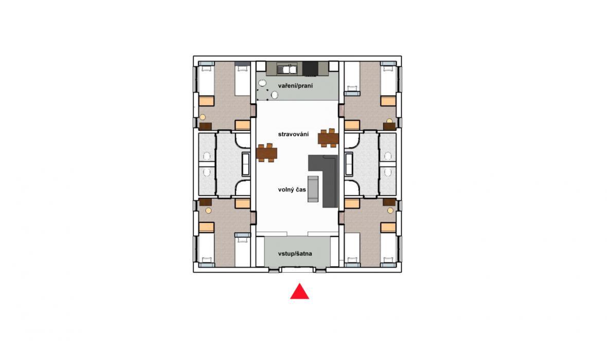 Půdorys obytného domu v otevřené věznici