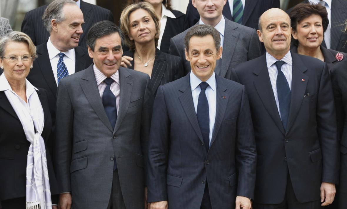 Nicolas Sarkozy s Francoisem Fillonem a Alainem Juppém (rok 2010)