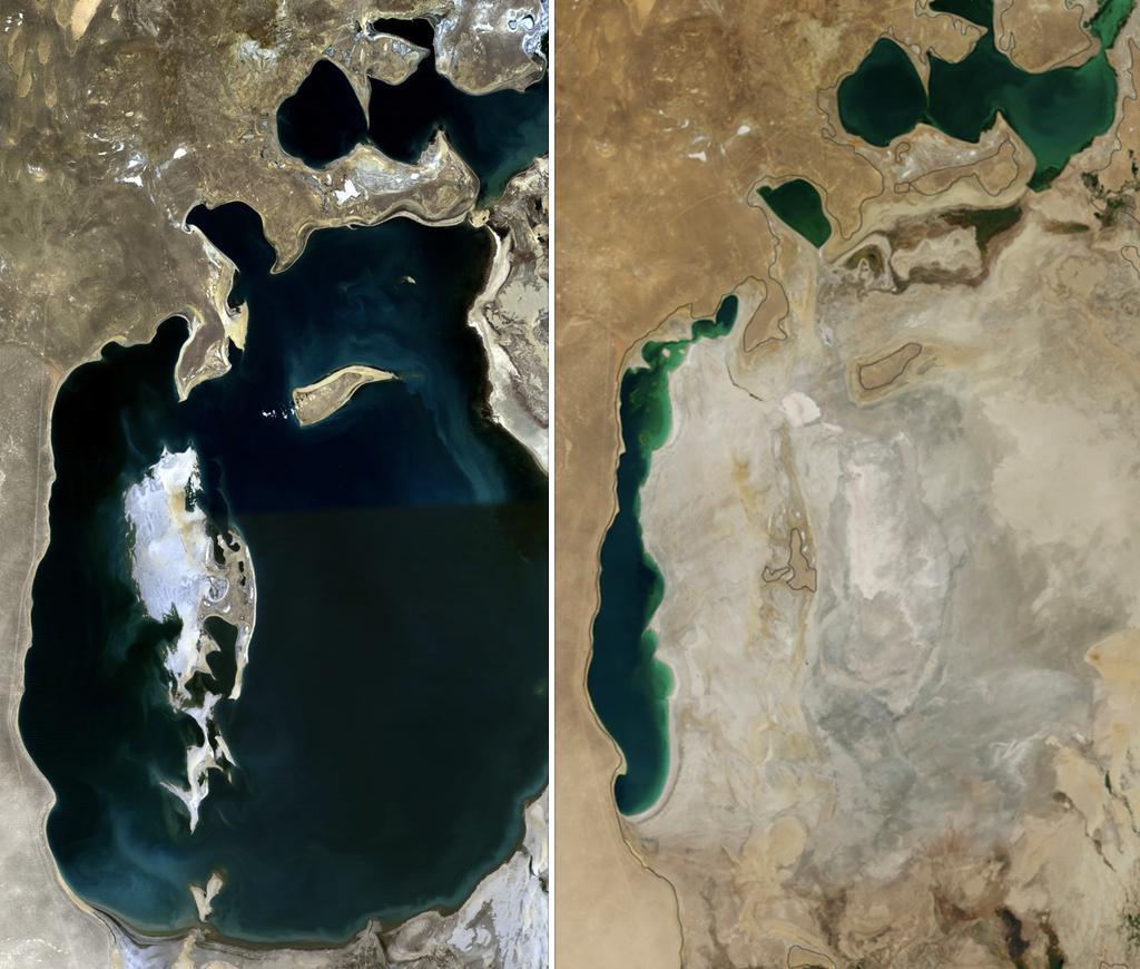 Aralské jezero roku 1989 a 2014
