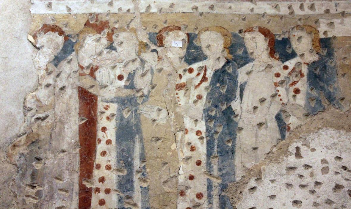 Freska s rytířskou tematikou na zámku v Kunštátu