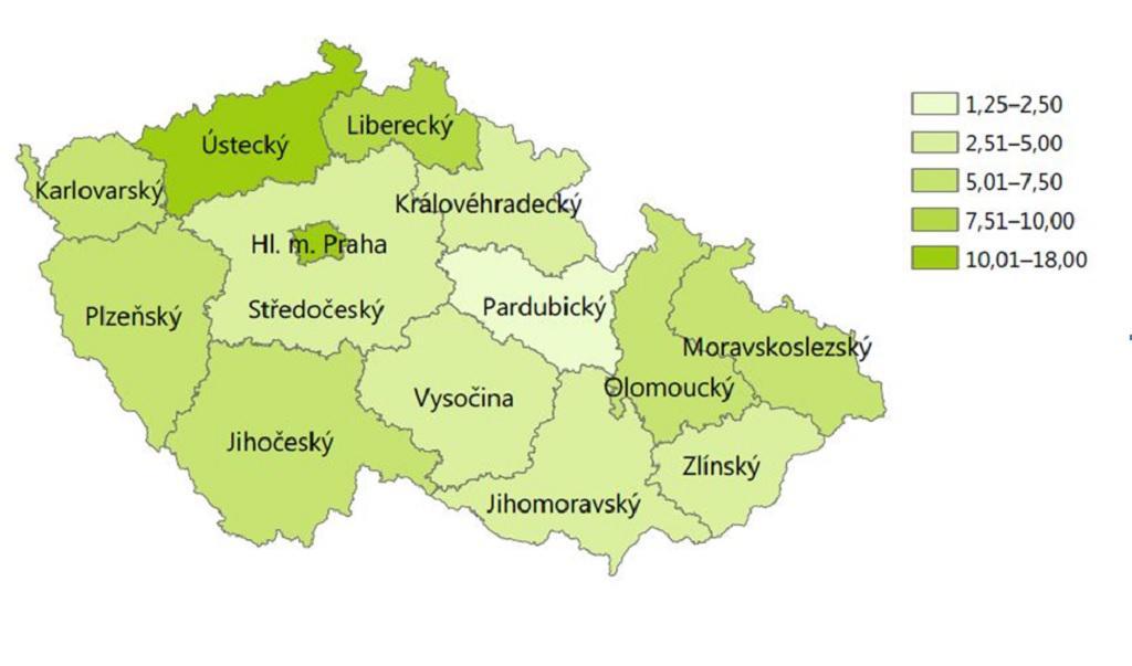 Odhadovaný počet problémových uživatelů drog na 1 000 obyvatel ve věku 15–64 let v ČR v roce 2015 podle krajů: