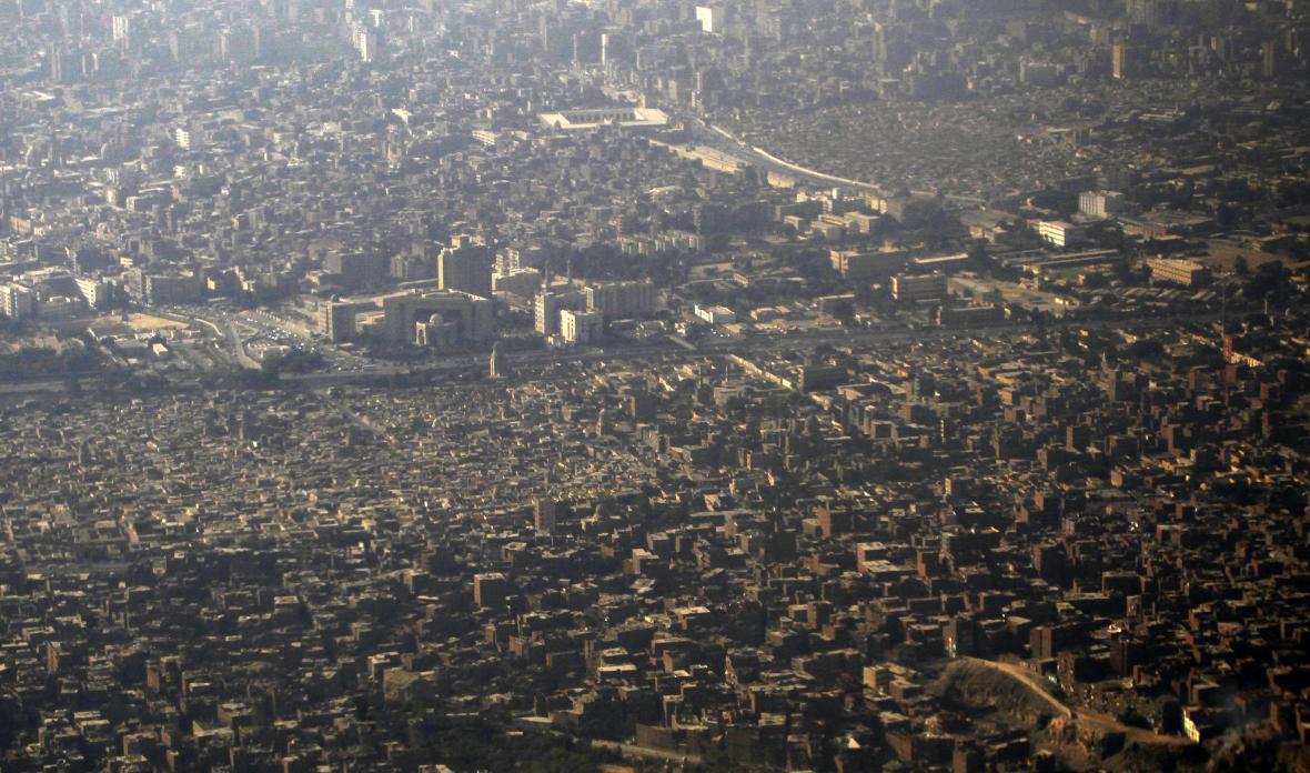 Letecký snímek na Káhiru