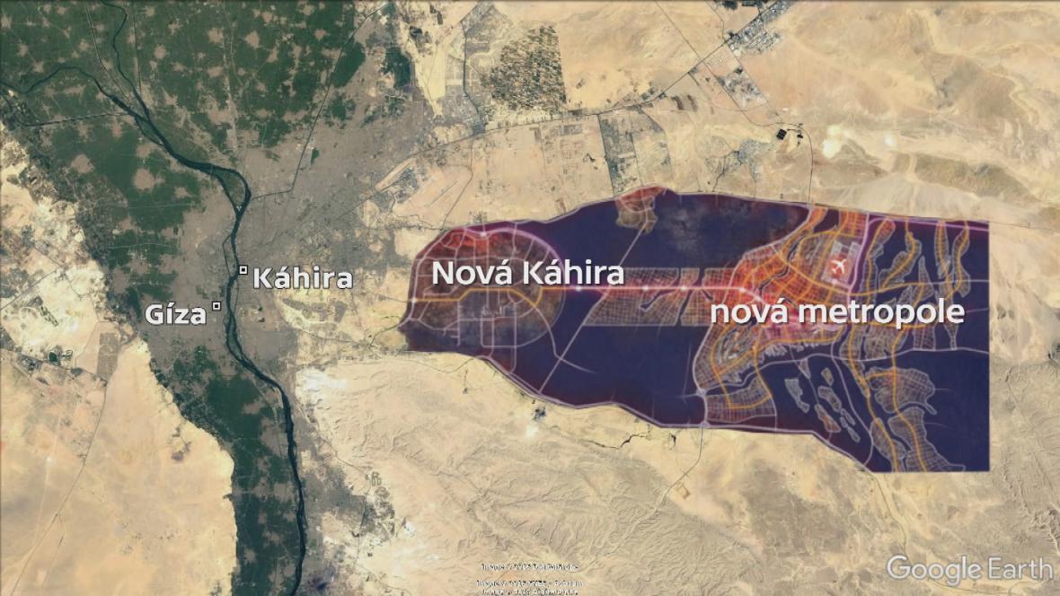 Schéma nově vznikající metropole u Káhiry