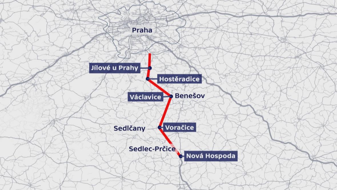 Trasa D3 ve Středočeském kraji