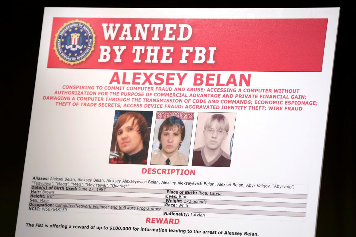 FBI nabízí za informace o Belanovi odměnu