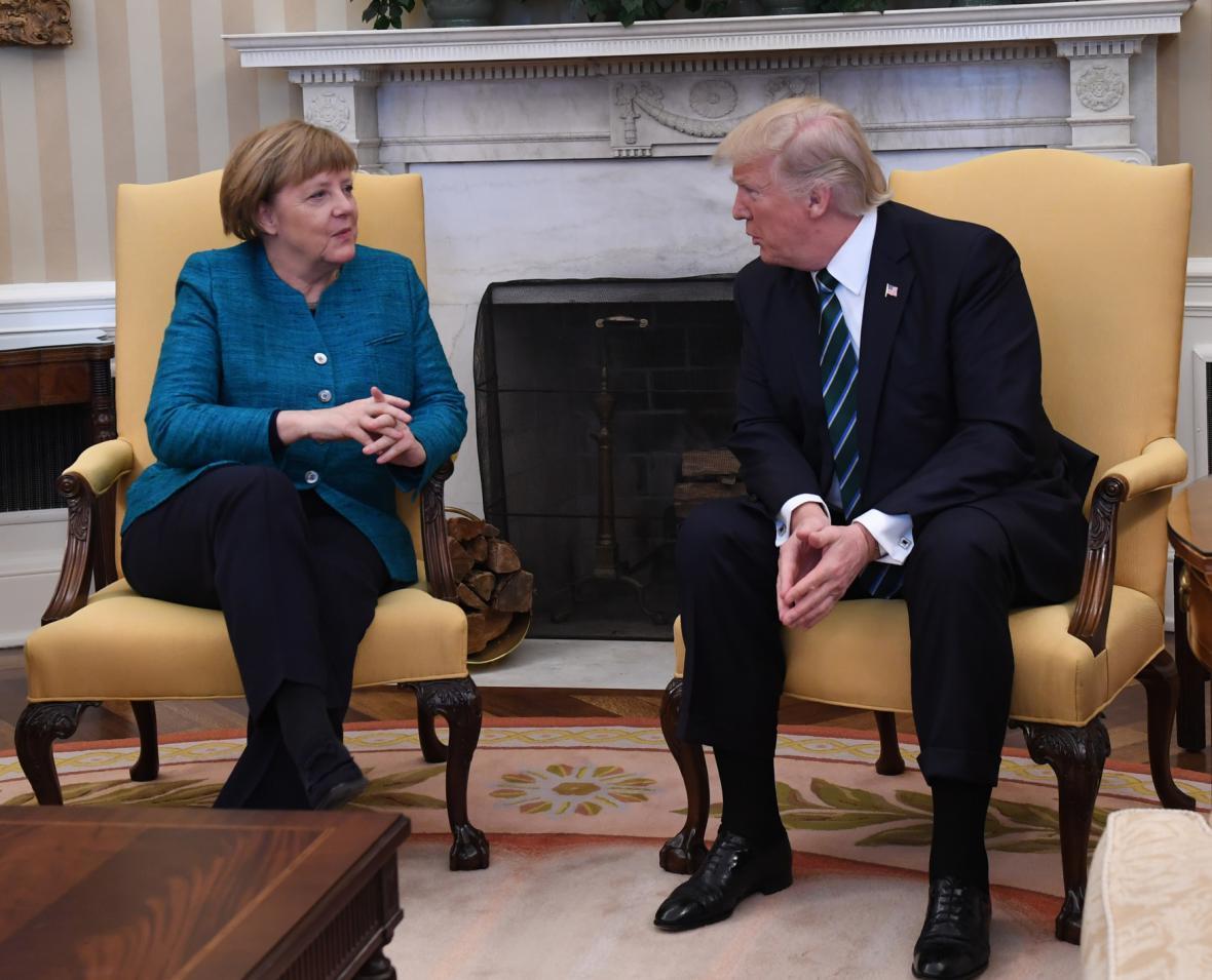 Angela Merkelová a Donald Trump v Oválné pracovně