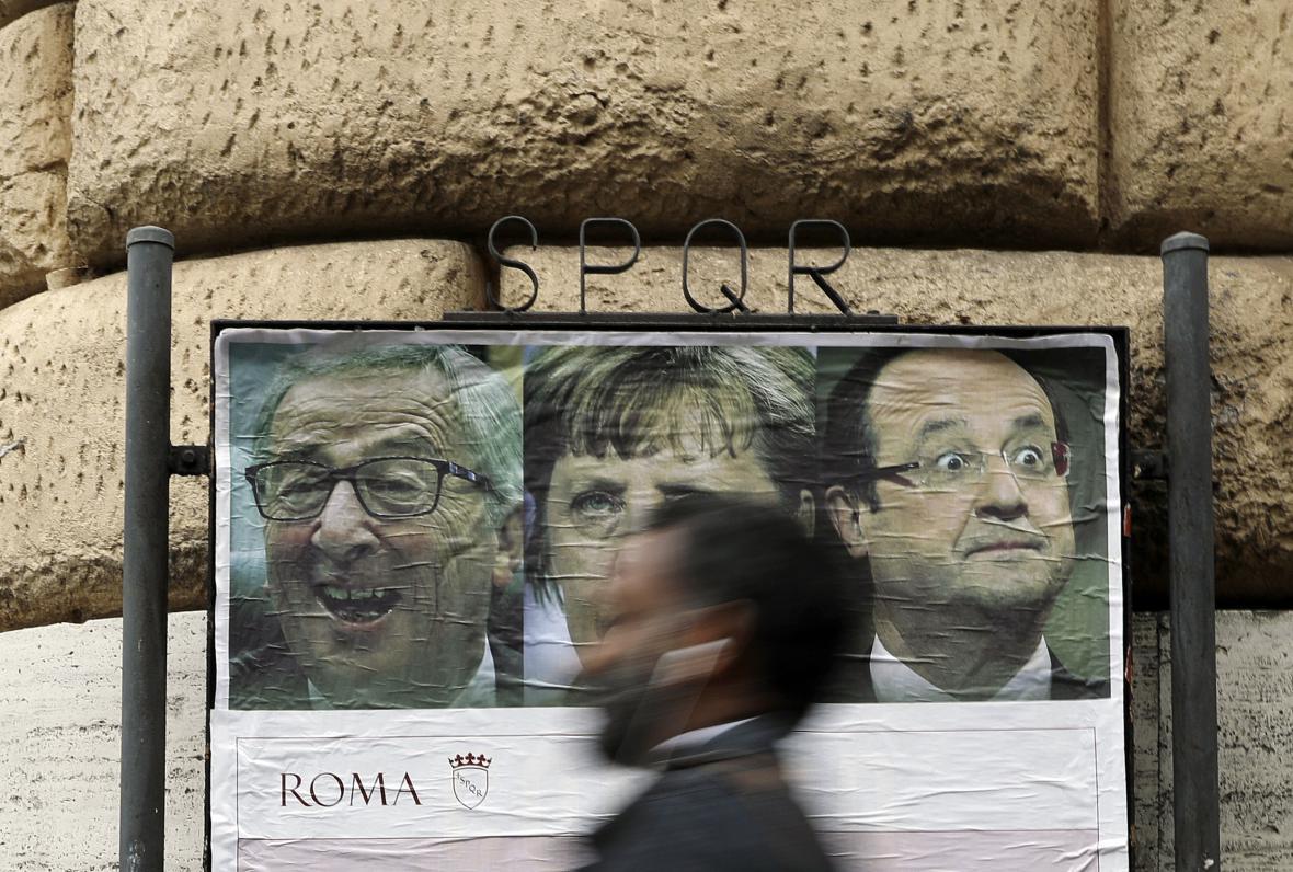 Plakát vyzývající k účasti na demonstracím proti summitu EU v Římě