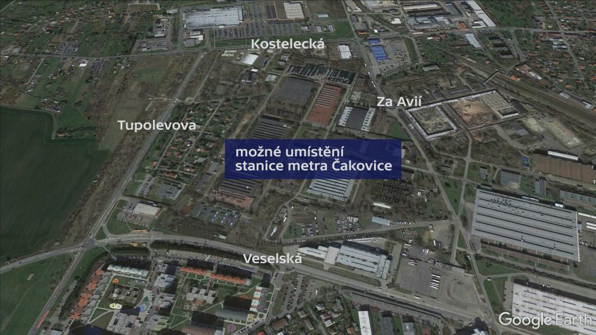 Možné umístění stanice metra Čakovice