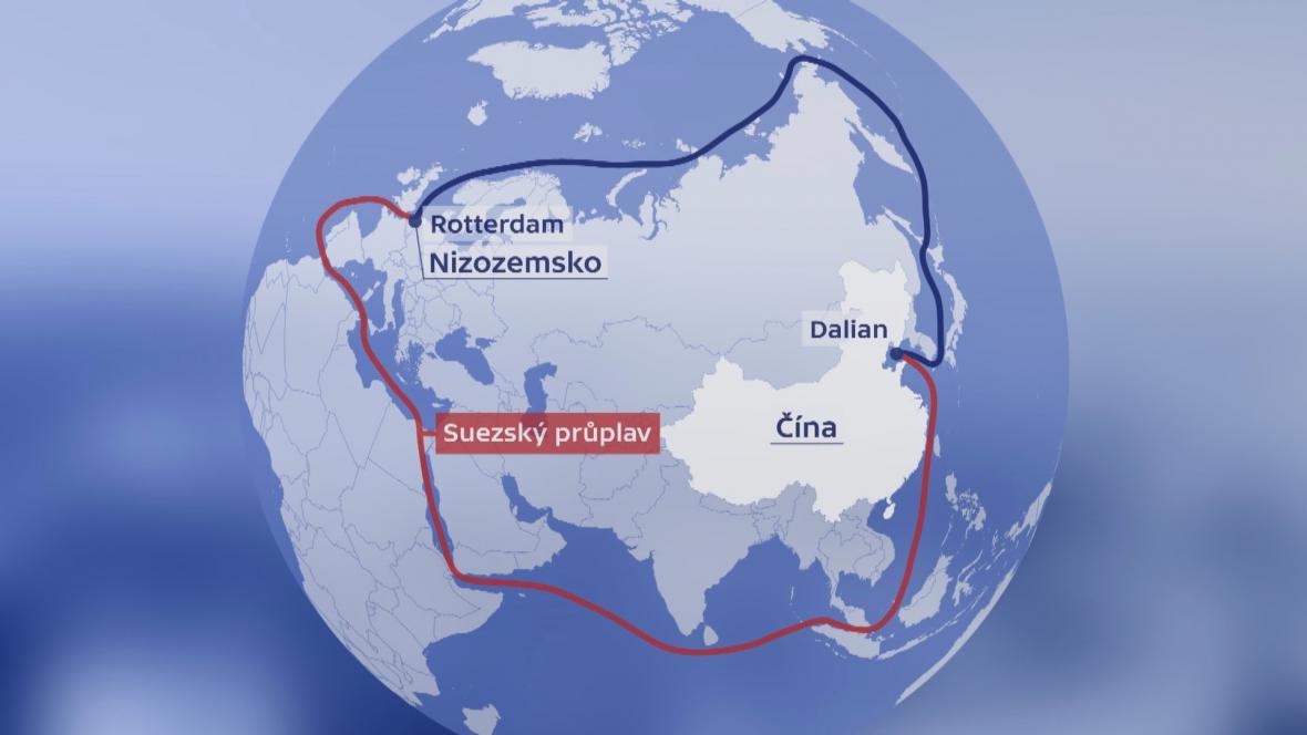 Severní a jižní varianta trasy z Číny do Nizozemska