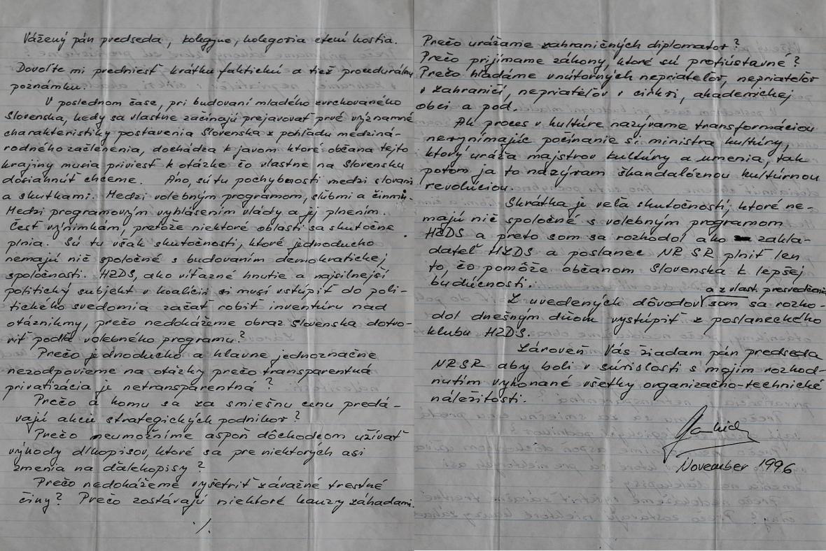 Přepis kritického projevu Gauliedera na adresu vlády z listopadu 1996